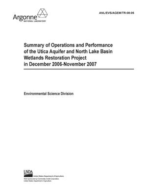 Primary view of object titled 'Summary of operations and performance of the Utica aquifer and North Lake Basin Wetlands restoration project in December 2006-November 2007.'.