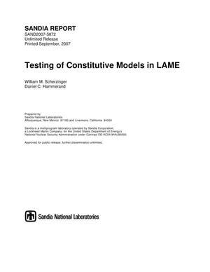 Primary view of object titled 'Testing of constitutive models in LAME.'.