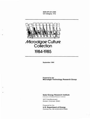 Primary view of object titled 'Microalgae Culture Collection: 1984-1985'.