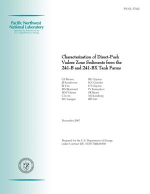 Primary view of object titled 'Characterization of Direct-Push Vadose Zone Sediments from the 241-B and 241-BX Tank Farms'.