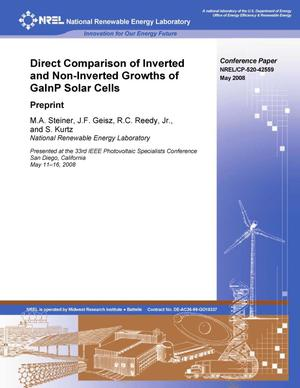 Primary view of object titled 'Direct Comparison of Inverted and Non-Inverted Growths of GaInP Solar Cells: Preprint'.