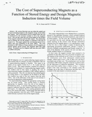 Primary view of object titled 'The Cost of Superconducting Magnets as a Function of Stored Energy and Design Magnetic Induction Times the Field Volume'.