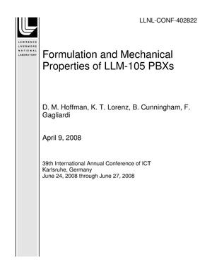 Primary view of object titled 'Formulation and Mechanical Properties of LLM-105 PBXs'.