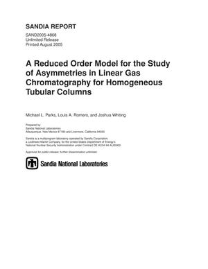 Primary view of object titled 'A reduced order model for the study of asymmetries in linear gas chromatography for homogeneous tubular columns.'.