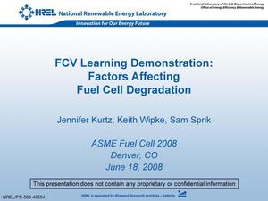 Primary view of object titled 'FCV Learning Demonstration: Factors Affecting Fuel Cell Degradation (Presentation)'.