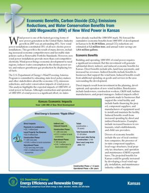 Primary view of object titled 'Economic Benefits, Carbon Dioxide (CO2) Emissions Reductions, and Water Conservation Benefits from 1,000 Megawatts (MW) of New Wind Power in Kansas (Fact Sheet)'.