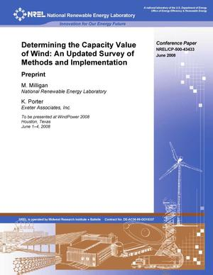 Primary view of object titled 'Determining the Capacity Value of Wind: An Updated Survey of Methods and Implementation; Preprint'.