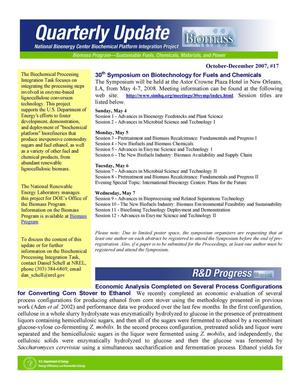 Primary view of object titled 'National Bioenergy Center Biochemical Platform Integration Project Quarterly Update, Number 17, October-December 2007'.