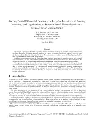 Primary view of object titled 'Solving partial differential equations on irregular domains with moving interfaces, with applications to superconformal electrodeposition in semiconductor manufacturing'.