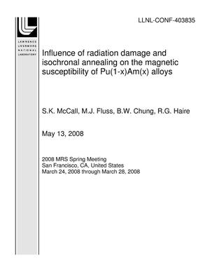 Primary view of object titled 'Influence of radiation damage and isochronal annealing on the magnetic susceptibility of Pu(1-x)Am(x) alloys'.