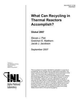 Primary view of What can Recycling in Thermal Reactors Accomplish?