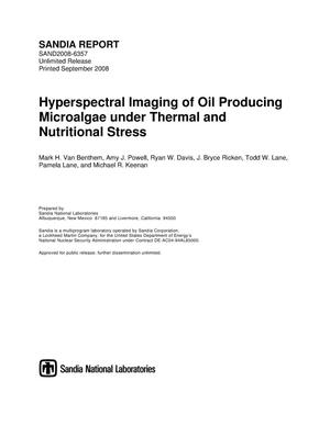 Primary view of object titled 'Hyperspectral imaging of oil producing microalgae under thermal and nutritional stress.'.