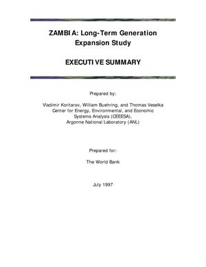 Primary view of object titled 'Zambia : long-term generation expansion study - executive summary.'.