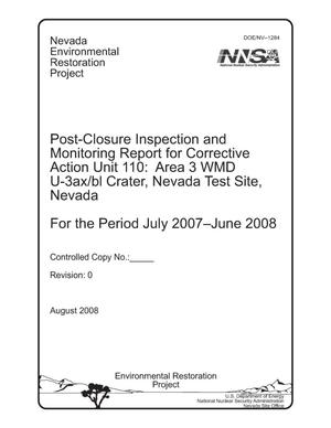 Primary view of object titled 'Post-Closure Inspection and Monitoring Report for Corrective Action Unit 110: Area 3 WMD U-3ax/bl Crater, Nevada Test Site, Nevada, For the Period July 2007-June 2008'.
