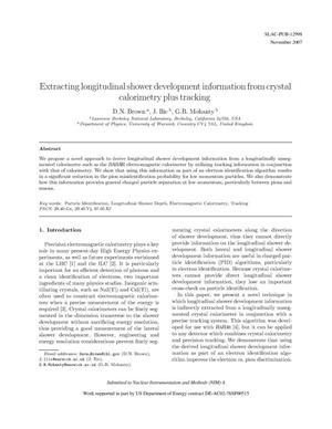 Primary view of object titled 'Extracting longitudinal shower developmentinformation from crystal calorimetry plus tracking'.