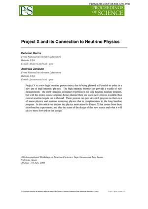 Primary view of object titled 'Project X and its connection to neutrino physics'.