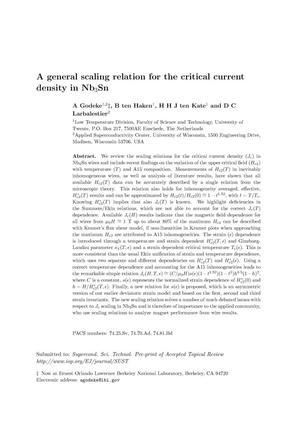 Primary view of object titled 'A general scaling relation for the critical current density inNb3Sn'.
