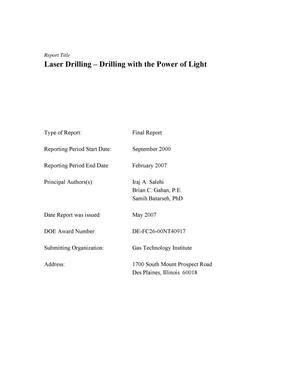 Primary view of object titled 'Laser Drilling - Drilling with the Power of Light'.