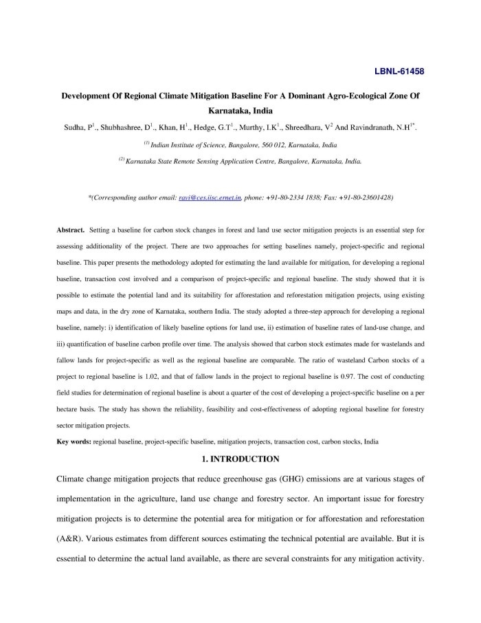Development Of Regional Climate Mitigation Baseline For A