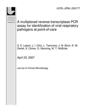 Primary view of object titled 'A multiplexed reverse transcriptase PCR assay for identification of viral respiratory pathogens at point-of-care'.