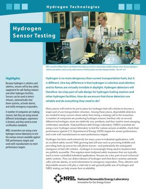Primary view of object titled 'Hydrogen Sensor Testing, Hydrogen Technologies (Fact Sheet)'.