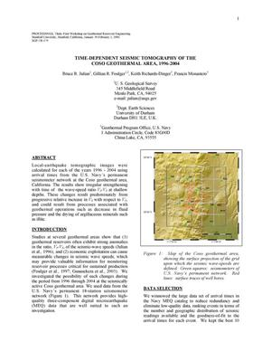 Primary view of object titled 'Time-dependent seismic tomography of the Coso geothermal area, 1996-2004'.