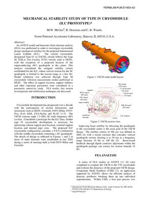 Primary view of object titled 'Mechanical stability study of type IV cryomodule (ILC prototype)'.