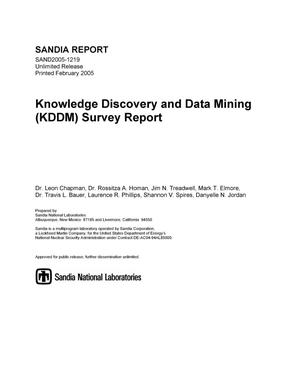 Primary view of object titled 'Knowledge Discovery and Data Mining (KDDM) survey report.'.