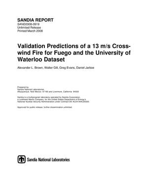 Primary view of object titled 'Validation predictions of a 13 m/s cross-wind fire for Fuego and the University of Waterloo dataset.'.