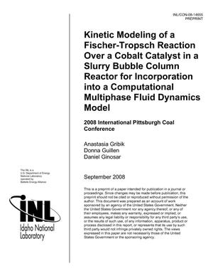 Primary view of object titled 'KINETIC MODELING OF A FISCHER-TROPSCH REACTION OVER A COBALT CATALYST IN A SLURRY BUBBLE COLUMN REACTOR FOR INCORPORATION INTO A COMPUTATIONAL MULTIPHASE FLUID DYNAMICS MODEL'.