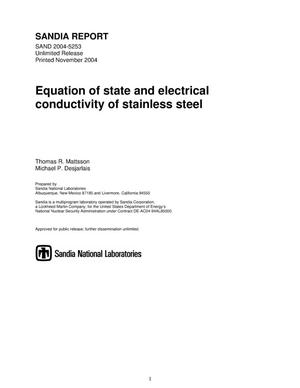Primary view of object titled 'Equation of state and electrical conductivity of stainless steel.'.