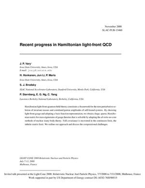 Primary view of object titled 'Recent progress in Hamiltonian light-front QCD'.
