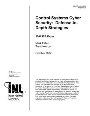 Primary view of object titled 'Control Systems Cyber Security: Defense-in-Depth Strategies'.