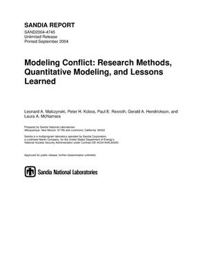 Primary view of object titled 'Modeling conflict : research methods, quantitative modeling, and lessons learned.'.