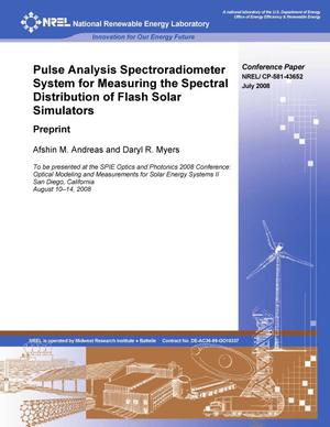 Primary view of object titled 'Pulse Analysis Spectroradiometer System for Measuring the Spectral Distribution of Flash Solar Simulators: Preprint'.