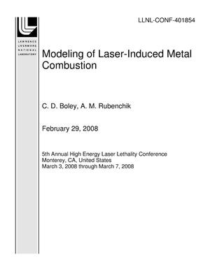 Primary view of object titled 'Modeling of Laser-Induced Metal Combustion'.