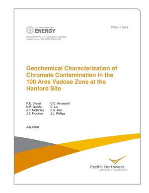 Primary view of object titled 'Geochemical Characterization of Chromate Contamination in the 100 Area Vadose Zone at the Hanford Site'.