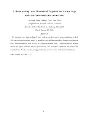 Primary view of object titled 'A Linear Scaling Three Dimensional Fragment Method for Large ScaleElectronic Structure Calculations'.