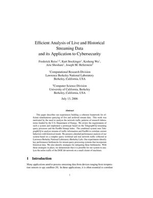 Primary view of object titled 'Efficient Analysis of Live and Historical Streaming Data and itsApplication to Cybersecurity'.