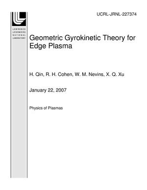 Primary view of object titled 'Geometric Gyrokinetic Theory for Edge Plasma'.