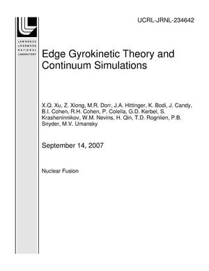 Primary view of object titled 'Edge Gyrokinetic Theory and Continuum Simulations'.