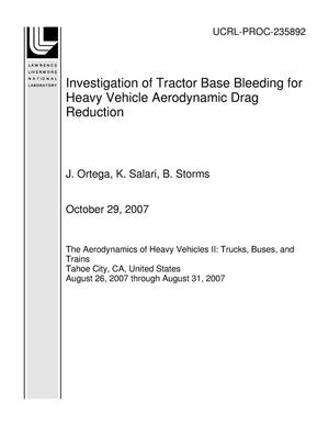 Primary view of object titled 'Investigation of Tractor Base Bleeding for Heavy Vehicle Aerodynamic Drag Reduction'.