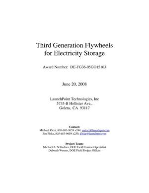 Primary view of object titled 'Third Generation Flywheels for electric storage'.