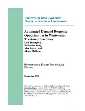 Primary view of object titled 'Automated Demand Response Opportunities in Wastewater Treatment Facilities'.