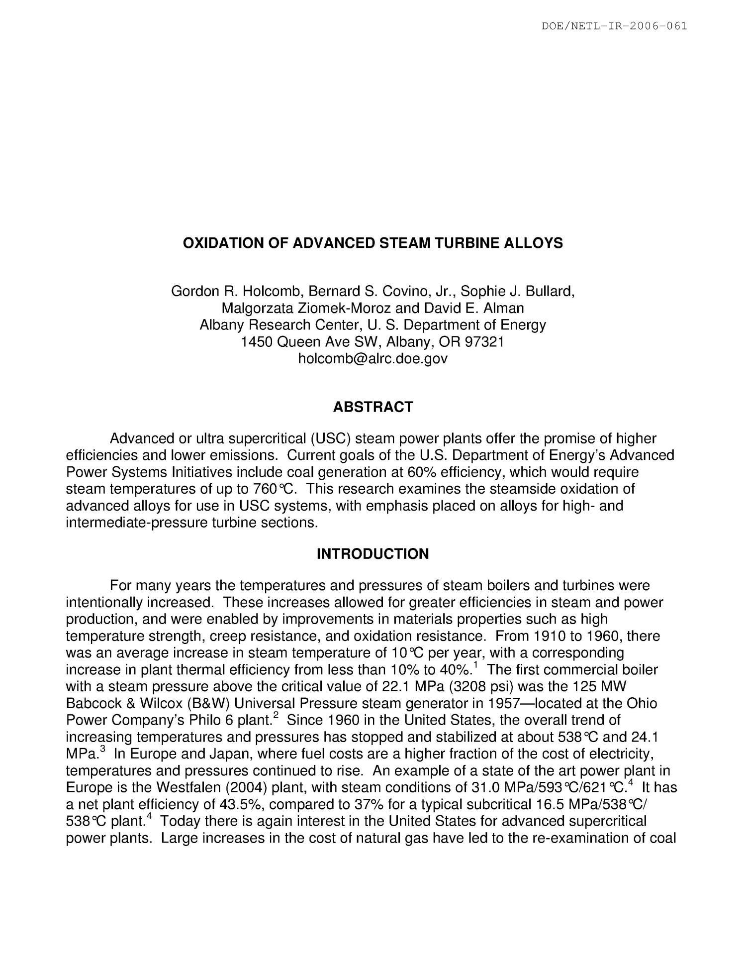 Oxidation of advanced steam turbine alloys Digital Library