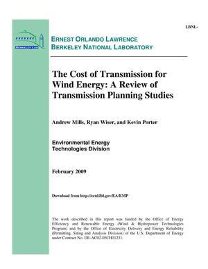 Primary view of object titled 'The Cost of Transmission for Wind Energy: A Review of Transmission Planning Studies'.
