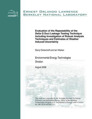 Primary view of object titled 'Evaluation of the Repeatability of the Delta Q Duct Leakage Testing TechniqueIncluding Investigation of Robust Analysis Techniques and Estimates of Weather Induced Uncertainty'.