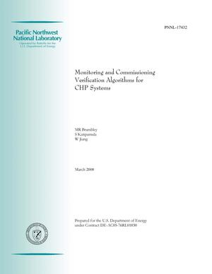 Primary view of object titled 'Monitoring and Commissioning Verification Algorithms for CHP Systems'.