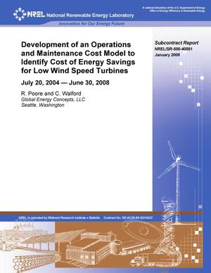 Primary view of object titled 'Development of an Operations and Maintenance Cost Model to Identify Cost of Energy Savings for Low Wind Speed Turbines: July 2, 2004 -- June 30, 2008'.