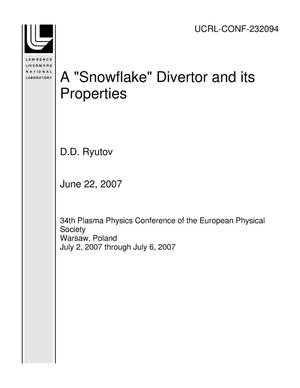 "Primary view of object titled 'A ""Snowflake"" Divertor and its Properties'."